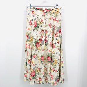 ✨ Vintage Cottage Core Floral Linen Blend Skirt
